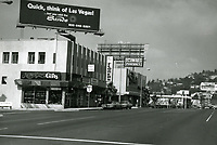 1973 Looking west on Sunset Blvd. towards Crescent Heights Blvd. Schwab's Pharmacy at left.
