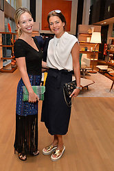 Left to right, MARISSA HERMER and AVERYL OATES at a party to celebrate the launch of Le Jardin de Monsieur Li by Hermes in association with Mr Fogg's was held at Hermes, 155 New Bond Street, London on 9th July 2015.