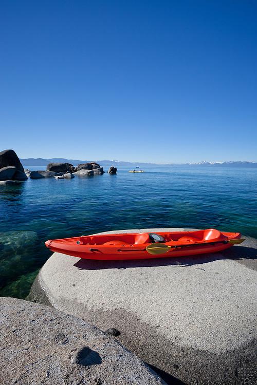 """Kayak on a Tahoe Boulder 1"" - This tandem kayak parked on a boulder was photographed near Speedboat Beach, Lake Tahoe."