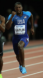 USA's Justin Gatlin in the 100m Men's heat six during day one of the 2017 IAAF World Championships at the London Stadium, UK, August 4, 2017. Photo by Giuliano Bevilacqua/ABACAPRESS.COM