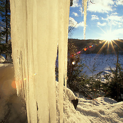 Icicles at sunset in Pawtuckaway State Park in Nottingham, NH.