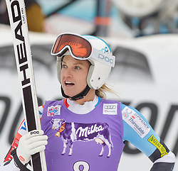 11.01.2015, Franz Klammer Weltcupstrecke, Bad Kleinkirchheim, AUT, FIS Ski Weltcup, Super G, Damen, im Bild Julia Mancuso (USA) // Julia Mancuso of the USA reacts in the finish Area after her run of ladie's SuperG of the Bad Kleinkirchheim FIS Ski Alpine World Cup at the Franz Klammer Course in Bad Kleinkirchheim, Austria on 2015/01/11. EXPA Pictures © 2015, PhotoCredit: EXPA/ Mag. Gert Steinthaler