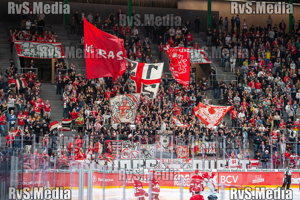LAUSANNE, SWITZERLAND - OCTOBER 01: Lausanne HC supporters during the Swiss National League game between Lausanne HC and ZSC Lions at Vaudoise Arena on October 1, 2021 in Lausanne, Switzerland. (Photo by Monika Majer/RvS.Media)
