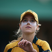 Australian player  Ellyse Perry warming up after having her dislocated finger relocated  during the Australia V New Zealand group A match at North Sydney Oval in the ICC Women's World Cup Cricket Tournament, in Sydney, Australia on March 8, 2009. New Zealand beat Australia by 13 runs in the (D/L method)  rain affected match. Photo Tim Clayton