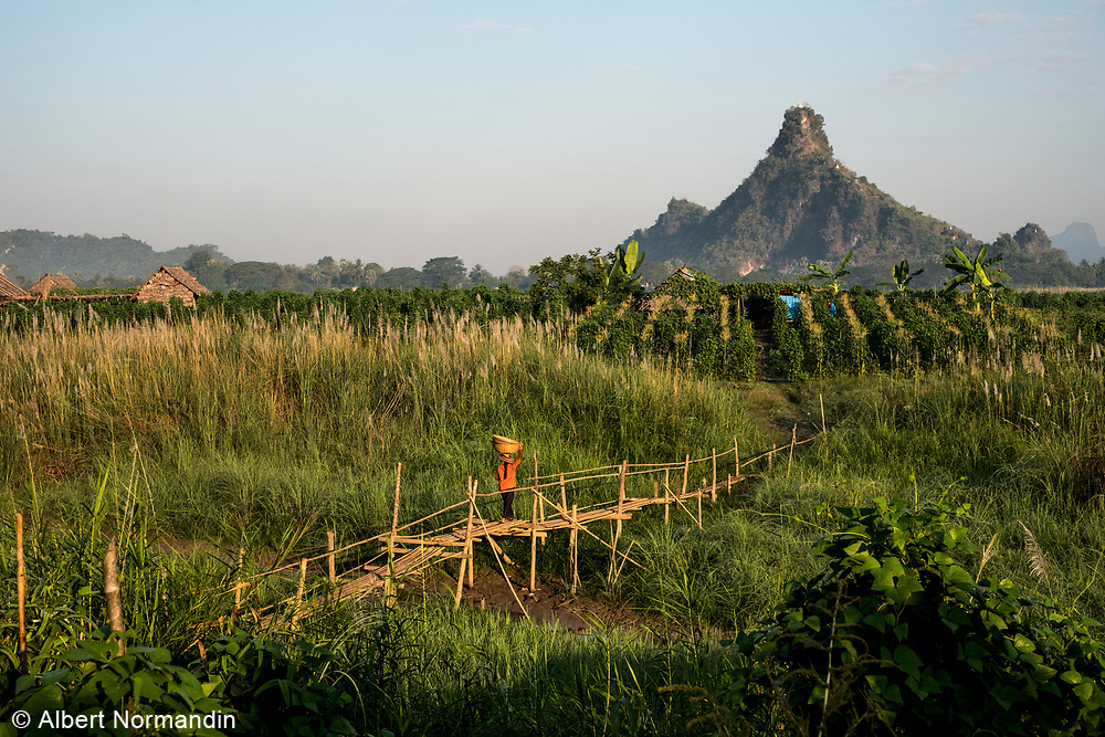 Farm fields and villages in Hpa-an, Myanmar