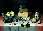 Still Life with Cheese by Floris Claesz van Dijck (1575-1651) oil on panel, c 1615.  Fruit, bread and cheese - grouped by type - are set on a table covered with damask tablecloths.  The illusion of reality is astounding, the pewter plate extending over the edge of the table seems close enough to touch.  The Haarlem painter Floris van Dijck ranked among the pioneers of Dutch still-life painting.