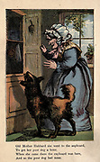 Old Mother Hubbard she went to the cupboard, To get the poor dog a bone. When she came there the cupboard was bare, And so the poor dog had none. From the book ' A apple pie and other nursery tales : forty-eight pages of illustrations : printed in colours by Kronheim & Co ' Published by  : George Routledge and Sons 1870