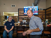 03 JANUARY 2020 - MONTEZUMA, IOWA: JOHN DELANEY listens to a question during a campaign stop in a cafe in Montezuma, IA. Delaney, a former Democratic Congressman from Maryland, was the first Democrat to declare his candidacy for President in 2020, He has held more than 400 campaign events in Iowa since declaring his candidacy. Iowa traditionally holds the first selection event of the presidential election cycle. The Iowa Caucuses are Feb. 3.     PHOTO BY JACK KURTZ