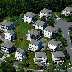 Aerial view of houses,  home development, neighborhood outside Baltimore, Maryland DRONE VIEW OF HOUSES