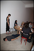 SAM KENNEDY PERFORMING A PIECE OF WORK BY LEAH CAPALDI, Matt's Gallery 35th birthday fundraising supper.  42-44 Copperfield Road, London E3 4RR. 12 June 2014.