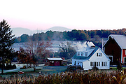 A farm in the early morning light in the Vermont countryside, Vermont, NewEngland,USA