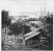 City Point, just after its capture by Butler. From June, 1864, until April, 1865, City Point, at the juncture of the Appomattox and the James, was a point of entry and departure for more vessels than any city of the South including even New Orleans in times of peace. from the book ' The Civil war through the camera ' hundreds of vivid photographs actually taken in Civil war times, sixteen reproductions in color of famous war paintings. The new text history by Henry W. Elson. A. complete illustrated history of the Civil war