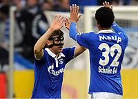 1:0 Jubel v.l. Klaas-Jan Huntelaar, Joel Matip (Schalke)<br /> <br /> Bundesliga, FC Schalke 04 - 1. FC Nürnberg<br /> <br /> norway only