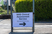 The first sign patients see as they arrive by car through to see NHS staff at a Primary Care Clinical Assessment Centre where potentially infectious and symptomatic Coronavirus patients can be assessed and treated by a doctor or a nurse, in a safe site, on the 16th of April 2020 in Dover, United Kingdom. This is not a COVID-19 testing facility, all patients will only be clinically assessed on site as there is no community testing currently available. All patients have been referred to this centre by NHS 111 or their GP.  (photo by Andy Aitchison)