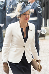 © Licensed to London News Pictures. 10/07/2018. London, UK. British Prime Minister Theresa May attends a service at Westminster Abbey to make the100th anniversary of the Royal Air Force at Westminster Abbey. The RAF, the world's first independent air force was founded on 1 April 1918, independent of the British Army and Royal Navy. Photo credit: Ray Tang/LNP