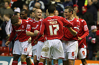 Photo: Pete Lorence.<br />Nottingham Forest v Millwall FC. Coca Cola League 1. 25/11/2006.<br />The Nottingham Forest squad celebrates Ian Breckin's goal.
