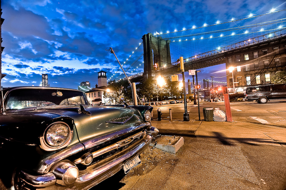 Old Chevy dating from 1957 parked on Fulton street in Brooklyn by the Brooklyn bridge, New York, 2010.