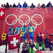 Spectators watch the men's downhill skiing action Sunday, Feb. 9, 2014. Photographed during the Winter Olympics in Sochi, Russia with an iPhone and Instragram. (Brian Cassella/Chicago Tribune) B583527420Z.1 <br /> ....OUTSIDE TRIBUNE CO.- NO MAGS,  NO SALES, NO INTERNET, NO TV, CHICAGO OUT, NO DIGITAL MANIPULATION...