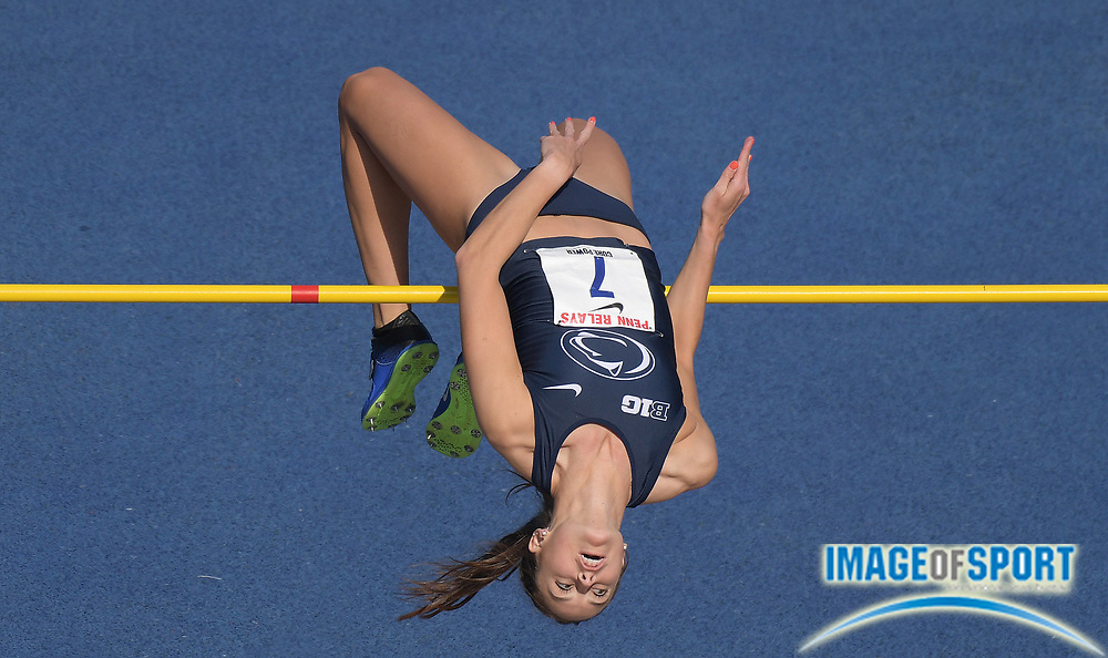 Apr 28, 2018; Philadelphia, PA, USA; Megan McCloskey of Penn State places third in the women's high jump at 5-10 (1.78m) during the 124th Penn Relays at Franklin Field.
