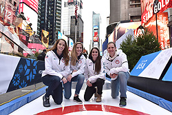 Members of the 2018 Olympic USA Curling team (l-r) Taylor Anderson, Sarah Anderson, Jamie Sinclair and John Shuster pose during the Team USA Winter Fest  - 100 day countdown to the 2018 Winter Olympics, in Times Square, New York, on November 1, 2017. (Photo by Anthony Behar/Sipa USA)