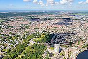 Nederland, Noord-Holland, Haarlem, 01-08-2016; overzicht van de stad met Haarlemmerhout. Aan de Dreef de Provincie Noord-Holland en Paviljoen Welgelegen.<br /> Haarlem Woods.<br /> luchtfoto (toeslag op standard tarieven);<br /> aerial photo (additional fee required);<br /> copyright foto/photo Siebe Swart