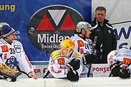 24.Feb.2012; Rapperswil-Jona; Eishockey NLA - Rapperswil-Jona Lakers - EV Zug; Sandro Zurkirchen (L), Damien Brunner (M), Duri Camichel (M) und Doug Shedden (R, Zug) (Thomas Oswald)