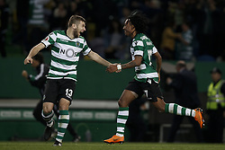 April 18, 2018 - Lisbon, Portugal - Sporting's defender Stefan Ristovski (L) and Sporting's forward Gelson Martins celebrate their victory at the end  Portuguese Cup 2017/18 match between Sporting CP vs FC Porto, in Lisbon, on April 18, 2018. (Credit Image: © Carlos Palma/NurPhoto via ZUMA Press)