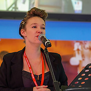 London, UK. 27th January, 2017. Lilly Zazou and her band has a unique take on inter-war French jazz and chanson preforms at The France Show 2017 at Olympia London chef demonstration. Credit: See Li