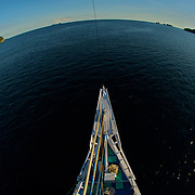 Terrestrial globe: view from the lookout of a sailing boat around Triton Bay