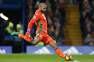 Goalkeeper Lee Grant of Stoke City taking a goal kick. Premier league match, Chelsea v Stoke city at Stamford Bridge in London on Saturday 31st December 2016.<br /> pic by John Patrick Fletcher, Andrew Orchard sports photography.