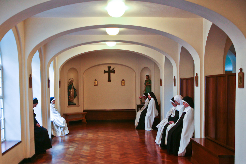 Sisters wait to go into prayers at the Tyburn Convent on Bayswater Rd, London.