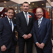 CANASTOTA, NY - JUNE 10:  Inductees Steve Albert, Vitali Klitschko and Jim Gray pose prior to the 2018 induction ceremony at the International Boxing Hall of Fame for the Weekend of Champions event on June 10, 2018 in Canastota, New York. (Photo by Alex Menendez/Getty Images) *** Local Caption *** Vitali Klitschko; Steve Albert; Jim Gray