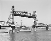 Y-550804C-1. USS General Weiss, largest ship ever to go past Hawthorne Bridge. August 4, 1955