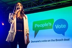 London, UK. 15th January, 2019. Dr Rosena Allin-Khan, Labour MP for Tooting, addresses pro-EU activists attending a People's Vote rally in Parliament Square as MPs vote in the House of Commons on Prime Minister Theresa May's proposed final Brexit withdrawal agreement.