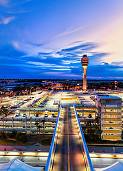 Sunset at Orlando International Airport in Orlando, FL.