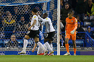 Goal 0-1 - Macauley Bonne (18) of Ipswich Town celebrates scoring the opening goal during the EFL Sky Bet League 1 match between Portsmouth and Ipswich Town at Fratton Park, Portsmouth, England on 19 October 2021.