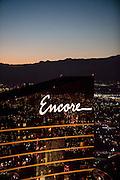 Aerial view of Encore Hotel the Strip, Las Vegas, Nevada, USA