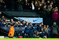 Bristol City Assistant Head Coach Dean Holden and Assistant Head Coach Jamie McAllister look dejected after Manchester City score in added time to win 2-1 - Rogan/JMP - 09/01/2018 - Etihad Stadium - Manchester, England - Manchester City v Bristol City - Carabao Cup Semi Final First Leg.