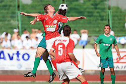 Aljaz Medved of Aluminij vs Miran Pavlin of Olimpija at final match of 2nd SNL league between NK Olimpija in NK Aluminij, on May 23, 2009, ZAK, Ljubljana, Slovenia. Aluminij won 2:1. NK Olimpija is a Champion of 2nd SNL and thus qualified to 1st Slovenian football league for season 2009/2010. (Photo by Vid Ponikvar / Sportida)