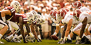 Sep 14, 2013; College Station, TX, USA; Alabama Crimson Tide offensive linesman Ryan Kelly (70) hikes the ball against the Texas A&M Aggies during the first half at Kyle Field. Mandatory Credit: Thomas Campbell-USA TODAY Sports