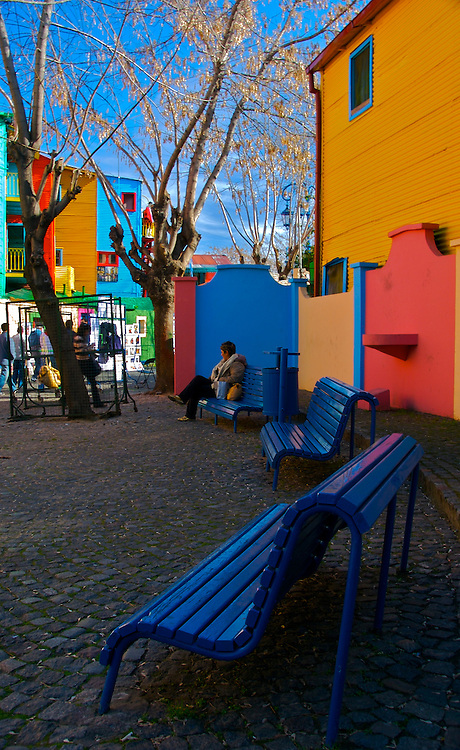 View of Caminito Street in Barrio de La Boca in Buenos Aires, Argentina. This is a popular tourist destination.