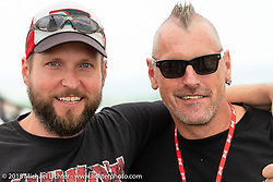 Custom bike builders Ulf Musekamp and Carsten Fritzen at the Flying Piston Builder Breakfast at the Buffalo Chip during the 78th annual Sturgis Motorcycle Rally. Sturgis, SD. USA. Sunday August 5, 2018. Photography ©2018 Michael Lichter.