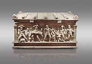 Roman relief sculpted Herakles (Hercules)  sarcophagus, 2nd century AD, Perge, inv 2017/400. Antalya Archaeology Museum, Turkey. Against a grey background..<br /> <br /> If you prefer to buy from our ALAMY STOCK LIBRARY page at https://www.alamy.com/portfolio/paul-williams-funkystock/greco-roman-sculptures.html . Type -    Antalya    - into LOWER SEARCH WITHIN GALLERY box - Refine search by adding a subject, place, background colour, etc.<br /> <br /> Visit our ROMAN WORLD PHOTO COLLECTIONS for more photos to download or buy as wall art prints https://funkystock.photoshelter.com/gallery-collection/The-Romans-Art-Artefacts-Antiquities-Historic-Sites-Pictures-Images/C0000r2uLJJo9_s0