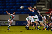 Sale Sharks No.8 Dan Du Preez attempts a charge down of a clearance kick by Newcastle Falcons scrum-half Louis Schreuder during a Gallagher Premiership Round 12 Rugby Union match, Friday, Mar 05, 2021, in Eccles, United Kingdom. (Steve Flynn/Image of Sport)