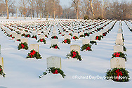 65095-02910 Wreaths on graves in winter Jefferson Barracks National Cemetery St. Louis,  MO