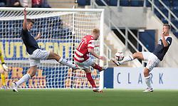 Hamilton's Alistair Crawford scoring their second goal.<br /> Falkirk 1 v 2 Hamilton, Scottish Championship 31/8/2013.<br /> ©Michael Schofield.