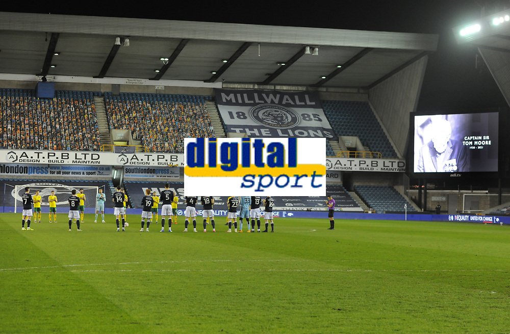 Football - 2020 / 2021 Sky Bet Championship - Millwall vs Norwich City - The Den<br /> <br /> A minutes applause for Sir Captain Tom Moore before kick off<br /> <br /> COLORSPORT/ANDREW COWIE