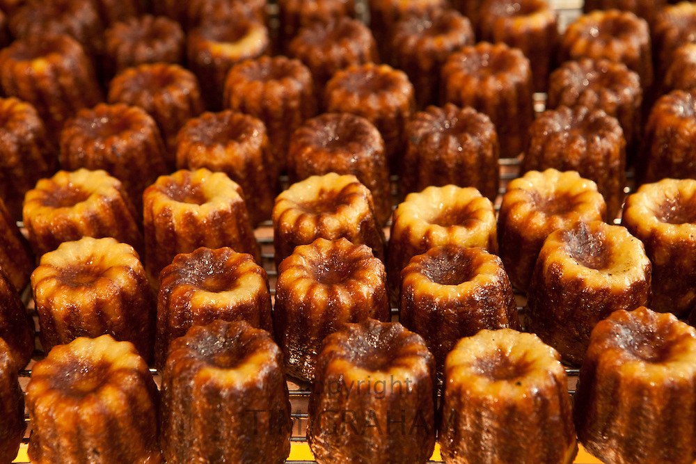 Local speciality cakes, caneles, on sale in patisserie in St Emilion, Bordeaux, France