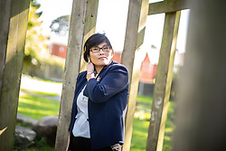 © Licensed to London News Pictures . 25/09/2018 . Bury , UK . North Korean refugee JIHYUN PARK (50) in a park near to her home in Bury . Jihyun was imprisoned , tortured and trafficked by the regime in North Korea before she managed to escape with the help of her husband . Photo credit : Joel Goodman/LNP