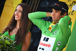 July 21, 2017 - Salon-De-Provence, FRANCE - Australian Michael Matthews of Team Sunweb celebrates on the podium in the green jersey of leader in the sprint ranking after the nineteenth stage of the 104th edition of the Tour de France cycling race, 222,5km from Embrun to Salon-de-Provence, France, Friday 21 July 2017. This year's Tour de France takes place from July first to July 23rd. BELGA PHOTO DAVID STOCKMAN (Credit Image: © David Stockman/Belga via ZUMA Press)
